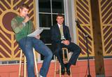 Host Truman Landowski '17 questions Tim  Nowacki '18 at the auction.