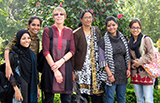 Jinnie Garrett and students from the Asian University for Women, where she is serving as dean of faculty.