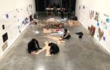Students work on their installation.