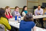 Doug Lemov '90 with students in Susan Mason's Ethnography of Learning Environments class.