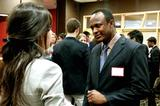 Nejla Asimovic '16 speaking with Leonard Kilekwang '16 at Levitt Leadership Reception