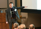 Sam Matlick '17 describes his proposal at the NY Business Plan Competition in Albany on April 25.
