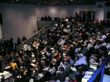 "More than 300 students gather in KJ Auditorium for the first  ""Midnight Madness"" writing workshop."