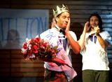 Felipe Garcia '14 reacts after winning the annual Mr. Hamilton competition in Tolles Pavilion.