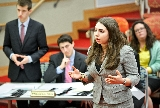 Mock Trial co-captain Caroline Reppert '17 argues a case in a mock trial tournament held at Hamilton.