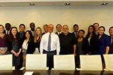 Rich Bernstein '80  with Hamilton Program in New York students and Professor Erol Balkan.