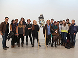 Sculptor Arlene Shechet poses with Hamilton students and faculty at her studio.