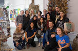 The group in the studio of sculptor and LaGuardia College professor Arthur Simms.