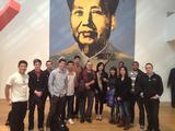"Hamilton students with Andy Warhol's ""Mao"" at the Metropolitan Museum of Art."