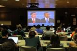 Students gathered in Sadove to watch the debate and record their responses.