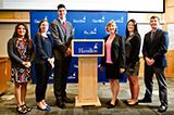 Russian Elite Poll 2016 Presenters: L-R Brisa Camacho-Lovell '16, Nora Klemmer  '17, Carlos Fineman '17, Associate Professor of Government Sharon Rivera, Emma Raynor '18, James Bryan '16