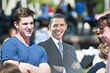 Matt Creeden '16, president of the Hamilton Democrats, poses with a member of the Democratic party.