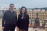 Professor Seth Schermerhorn and Lillia McEnaney '17 in Senate Square, Helsinki.