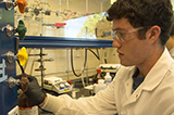 "Jon Shapiro, working on his project  ""Investigating New Reactions of Alpha-iminorhodium carbenoids."""