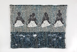 Spirits Cry, 2000. Image transfer on hand-woven linen, Amoco non-woven geotextile thread, and indigo dye. 36¼ × 49 3/8 in. (92.1 × 125.4 cm). Courtesy of the artist.