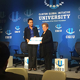 Tsion Tesfaye '16 at the Clinton Global Initiative University in March.