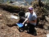 Caitlin Tuten-Rhodes '12 excavating at the Slocan Narrows Pithouse Village.