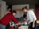 Jordan Davis, Liam Ronan, Yoko O'Hara and Isabelle Van Hook make cookies.
