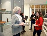 Student docent Ianna Recco '16, right, chats with teacher Sheila Nadeau during an educators event at the Wellin Museum.