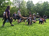 Exploration Adventure leaders participate in a  group bonding game at Green Lakes State Park.