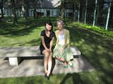 Xiaohan Du '12 with April Oswald, Museum Education Director of Munson-Williams-Proctor Arts Institute.