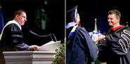 PayPal co-founder Peter Thiel, left, gives the commencement address. Patrick Reynolds, right, presents an award at commencement.