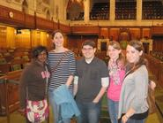Members of the CompLit326 class visiting the House of Commons in the Parliament.
