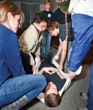 An EMT training session on campus.