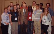 Ted Taylor '46 poses with Hamilton students at the National Meeting of the American Chemical Society in San Francisco.