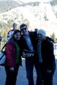 (from left to right) Morgan Keane '03, Tom Keane '03, and Kristen Kmetetz '03 attend the men's ski cross competition at Cypress Mountain