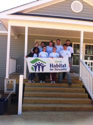 Hamilton ASB group on the steps of the home they helped build in Mechanicsville, Va.