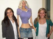 Perry Ryan '12 and Galia Slayen '13 with Slayen's life-size Barbie doll