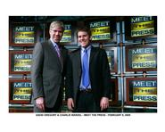 Charlie Warzel '10, right, with Meet the Press host David Gregory.
