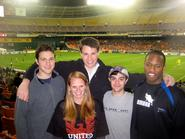 Sam Reider '14, Amy Soenksen '13, Knute Gailor '13, Kevin Prior '13 and Cam Waugh '13 cheer on DC United. enjoy the DC United soccer game.