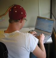 Student wearing EEG equipment