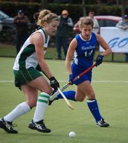 Sarah Flisnik '12 (right) guards her Skidmore opponent