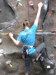 Lauren Duncan '10 scales the Bruce Climbing Wall.