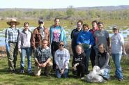 A Hamilton group volunteered at the annual Utica Marsh clean-up.
