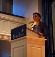 Author Michelle Alexander speaks in the Chapel on April 17.
