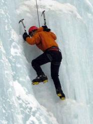 Sam Mackoff '13 scales a frozen waterfall.