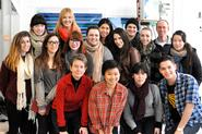 Program in New York City students with Spencer Finch '85 and program director Ella Gant.