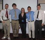 Seniors Thomas Coppola, James Langan, Kendra Wulczyn, Sam Cho and Sven Oman.