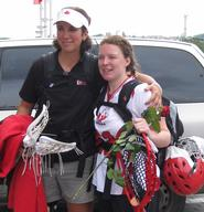 Hamilton head coach Patty Kloidt (left) and 2007 All-American Kalley Greer '07 helped Team Canada win bronze at the Women's World Cup.