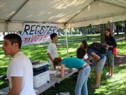 Students registering to vote in the 2008 presidential election