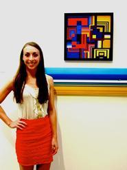 Alexandra Nasto '13 with her acrylic painting