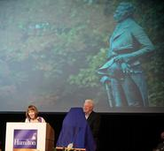 President Joan Hinde Stewart and Board of Trustees Chairman A.G. Lafley '69 presented an honorary degree posthumously to Alexander Hamilton.