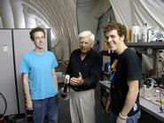 "Professor Stanley Opella, center, with Matt Baxter and Jason McGavin, in ""The Bubble"" an inflatable tent used to house Opella's NMR instrumentation."