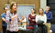 Students watch as actress Blanche Baker P'15, left, describes how to add emotion into spontaneous scenes.