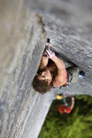 Burhardt climbing in Canada.