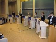 Representatives of fictional West Europa's political parties debate.